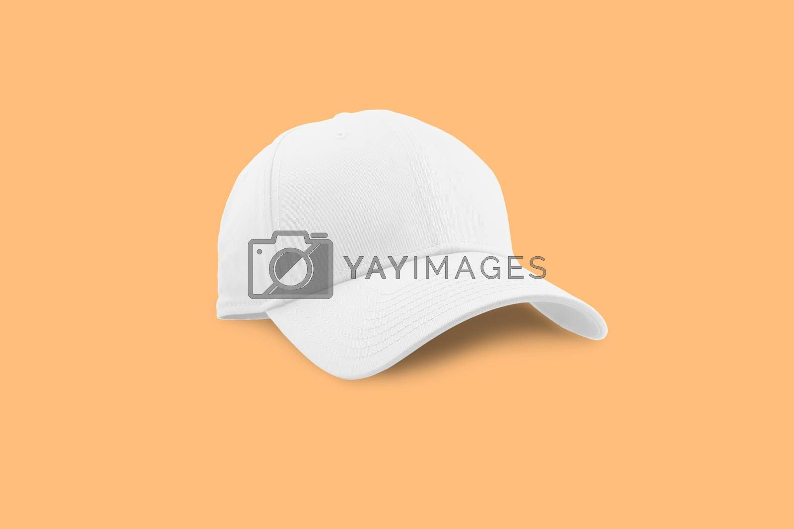 Fashion and sports white cap isolated on beautiful pastel color background, with clipping path.