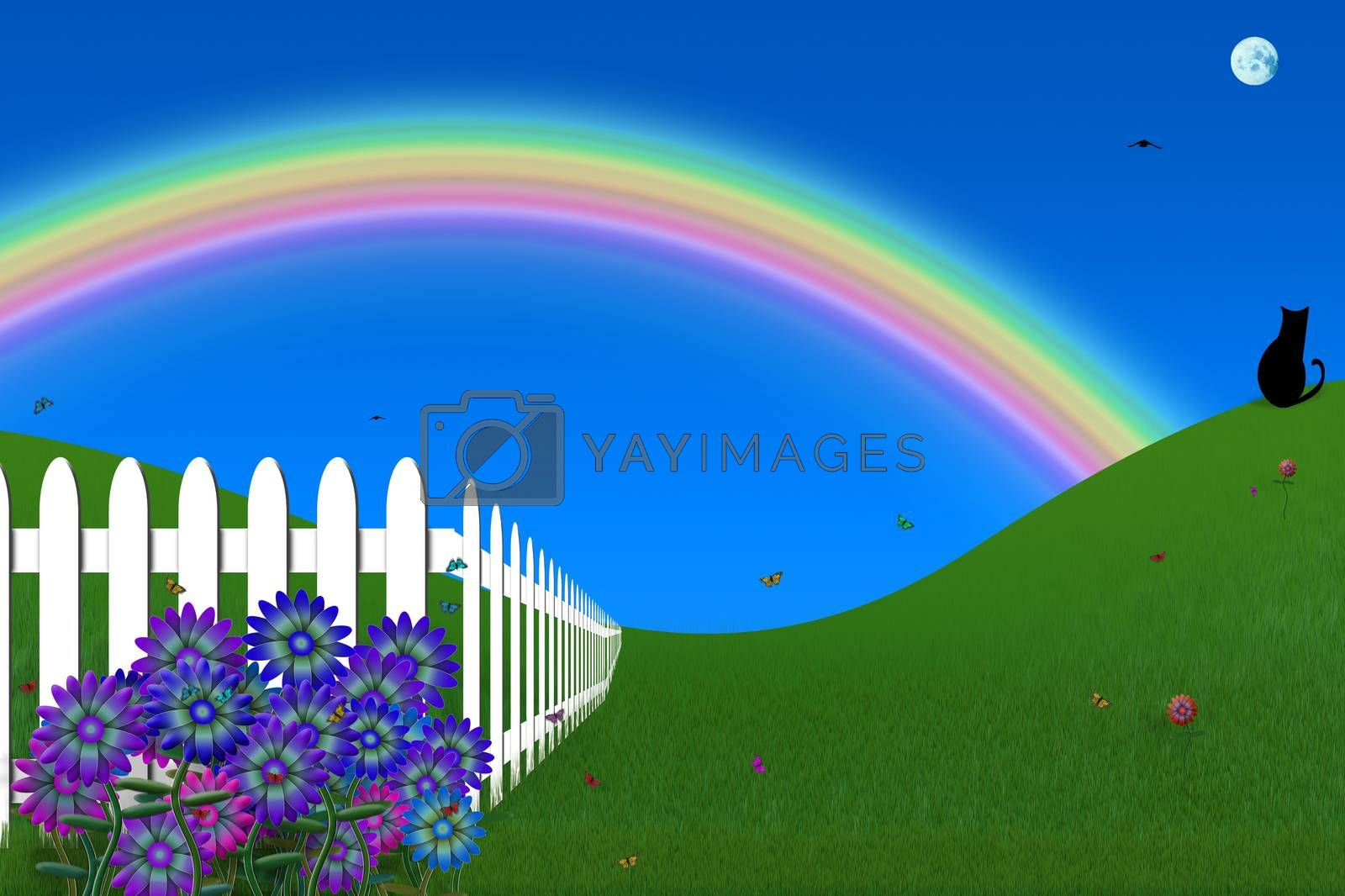 Vivid backyard with white fence and rainbow. 3D rendering
