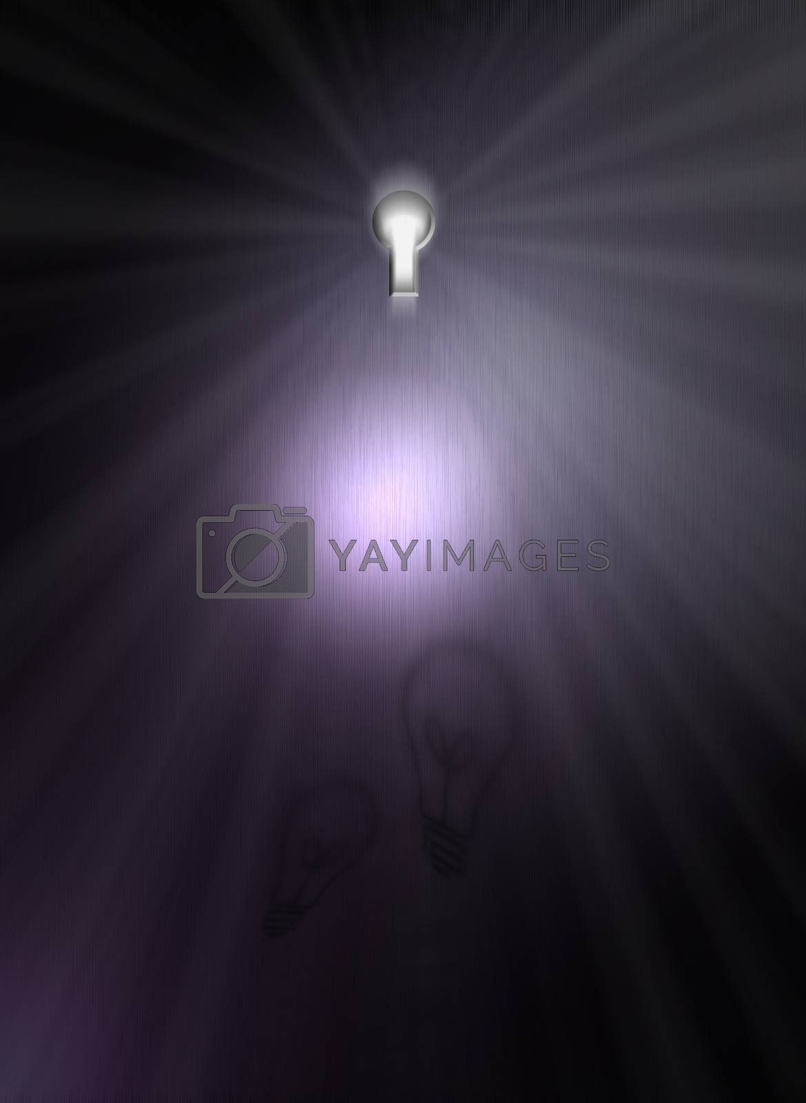 Light behind the keyhole. 3D rendering