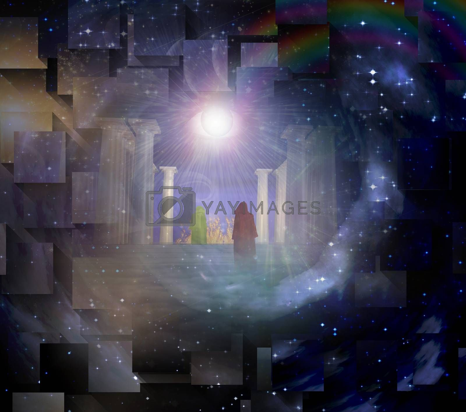 Temple in spiritualy based composition. 3D rendering