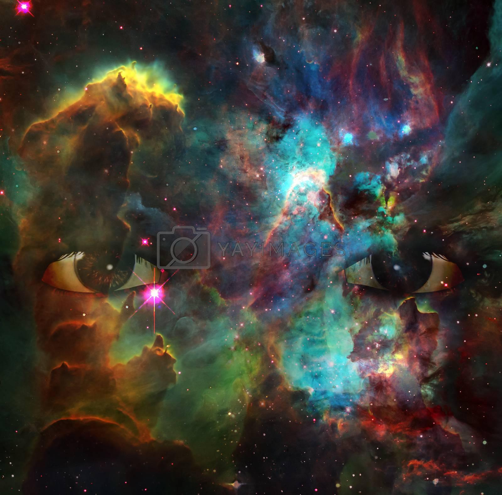 Eyes in space. Colorful nebulae. 3D rendering