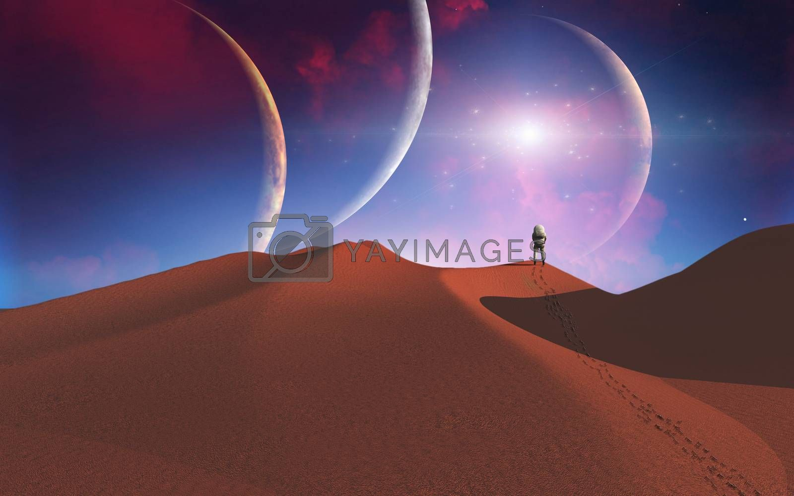 Astronaut on another red planet. 3D rendering