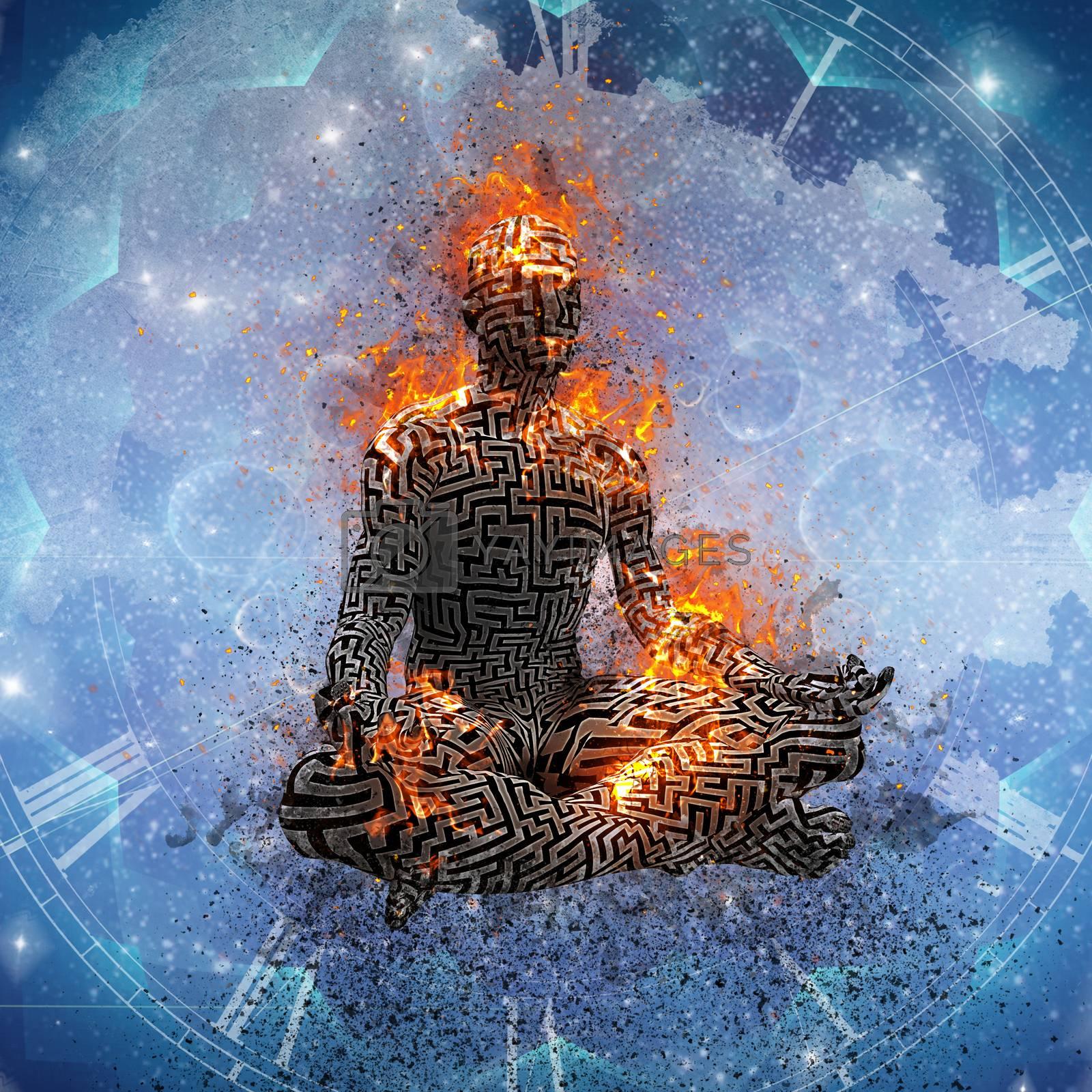 Flaming meditation. Man in lotus pose. 3D rendering