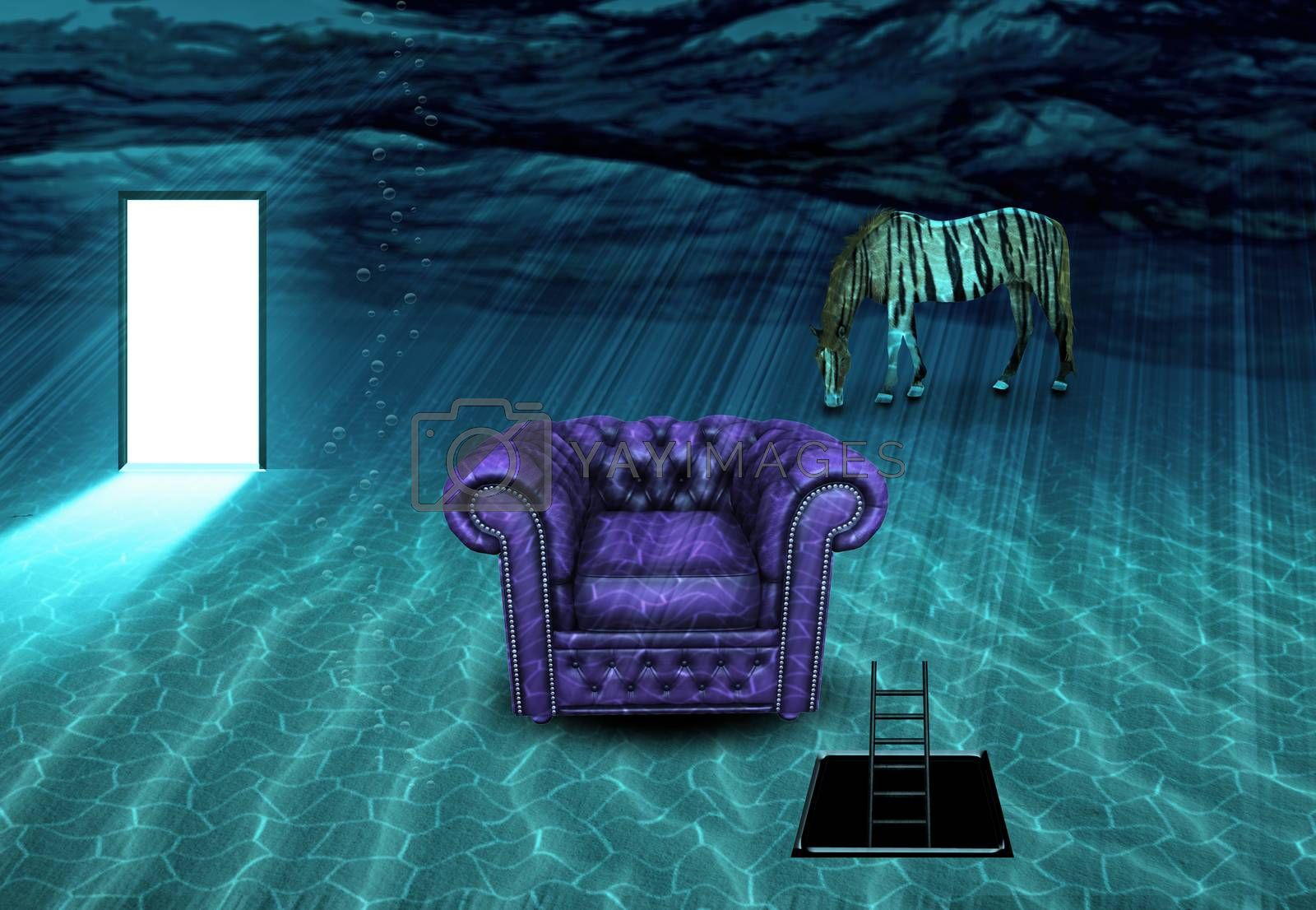 Surreal underwater scene. Striped horse and armchair. 3D rendering
