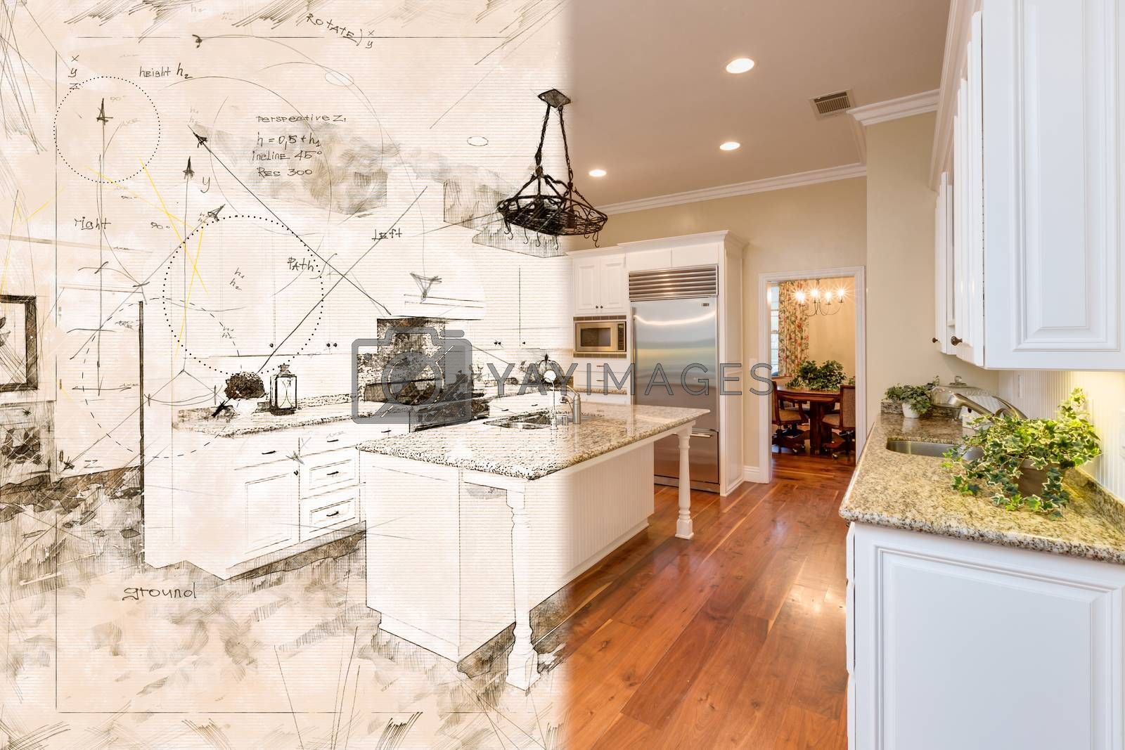 Beautiful Custom Kitchen Design Drawing Cross Section Into Finis by Feverpitched