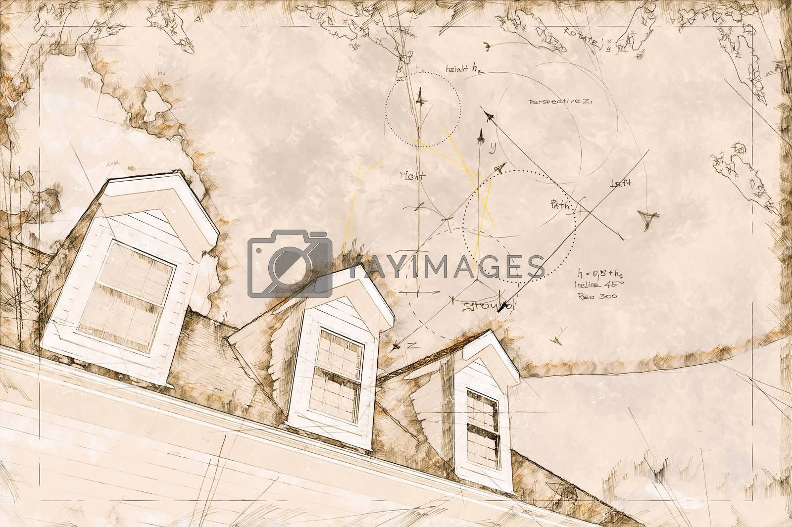 Artist Rendering Sketch of Residential Roof and Dormers by Feverpitched