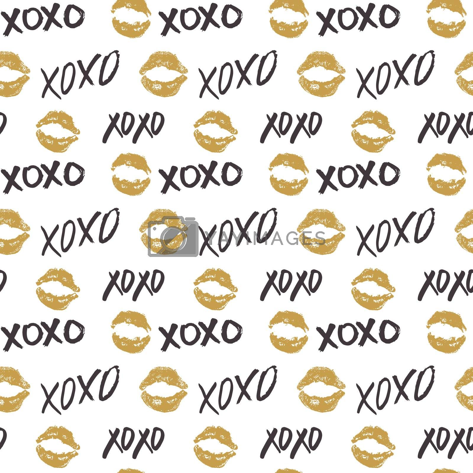XOXO brush lettering signs seamless pattern, Grunge calligraphic hugs and kisses Phrase, Internet slang abbreviation XOXO symbols, vector illustration isolated on white background