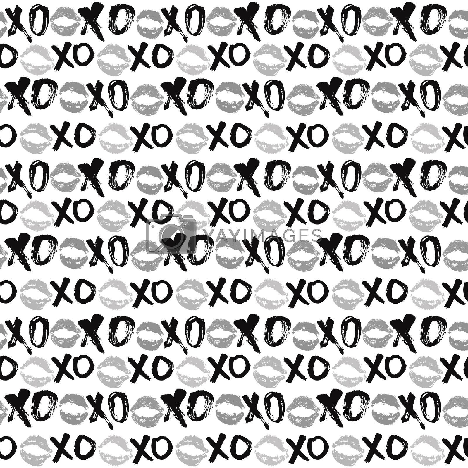 XOXO brush lettering signs seamless pattern, Grunge calligraphic hugs and kisses Phrase, Internet slang abbreviation XOXO symbols, vector illustration isolated on white background