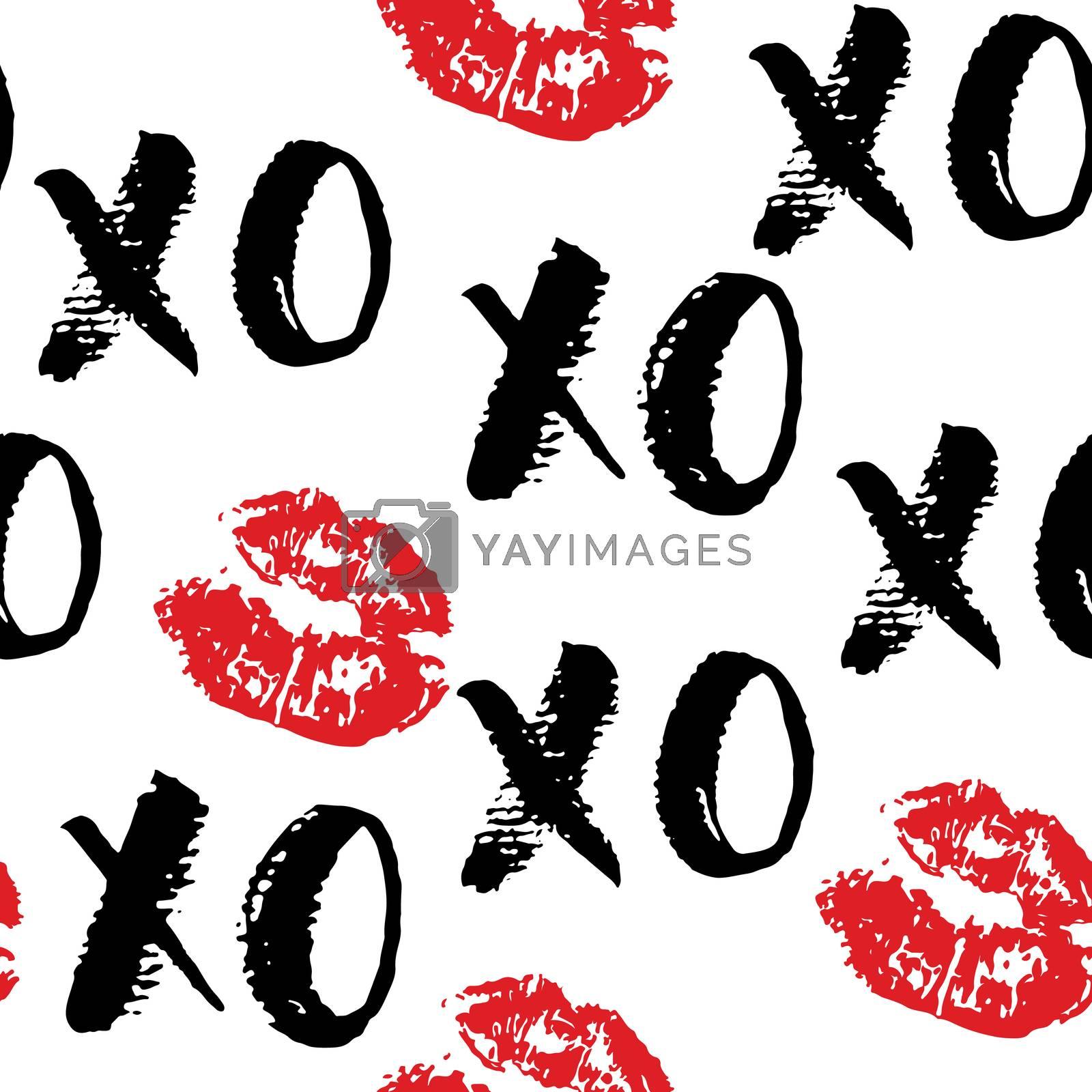 XOXO brush lettering signs seamless pattern, Grunge calligraphiv c hugs and kisses Phrase, Internet slang abbreviation XOXO symbols, vector illustration isolated on white background