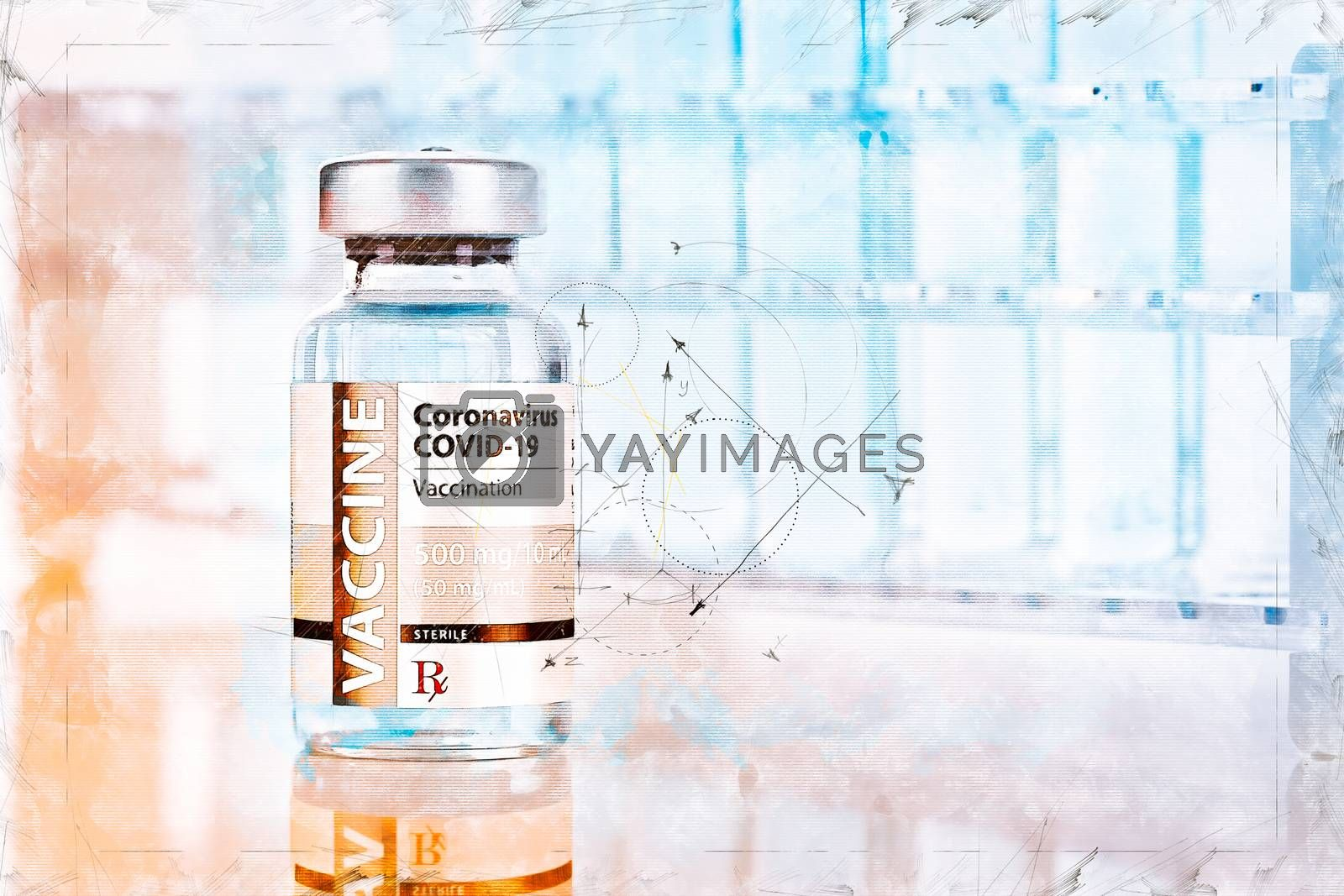 Artistic Rendering Sketch of Coronavirus COVID-19 Vaccine Vial a by Feverpitched