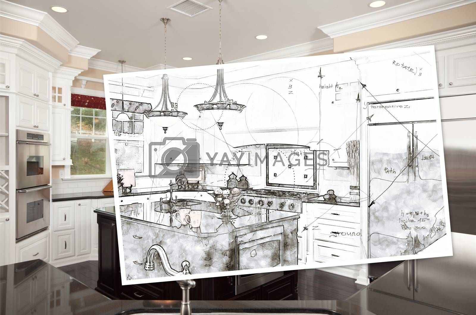 Beautiful Custom Kitchen Design Drawing On Paper Over Finished P by Feverpitched