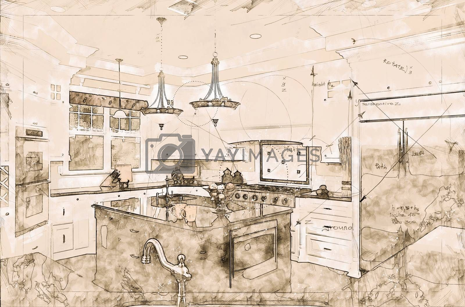 Beautiful Custom Kitchen Concept Design Drawing by Feverpitched