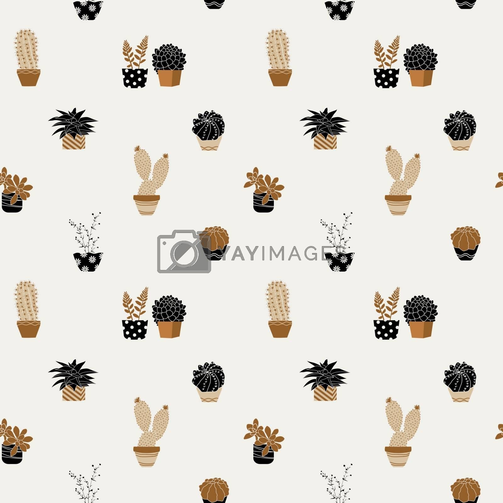 Hand drawn cute succulent plants on pots seamless pattern on pastel background by PIMPAKA