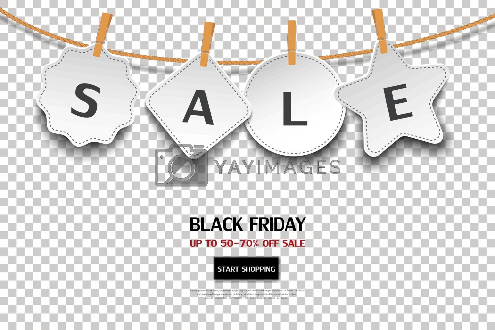 Black friday sale tag on transparent background,for advertising,shopping online,website or promotion by PIMPAKA