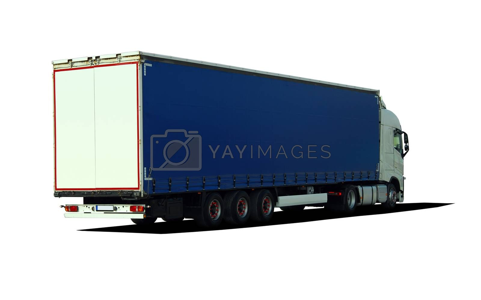 Royalty free image of Large truck with semi-trailer, rear view by aselsa