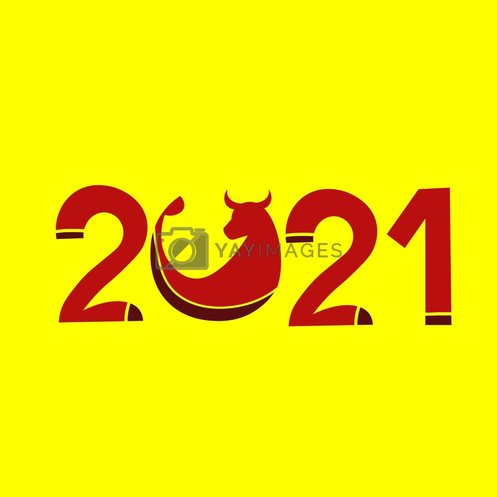 Happy New Year 2021. Year of the bull. Postcard with red lettering on a yellow background