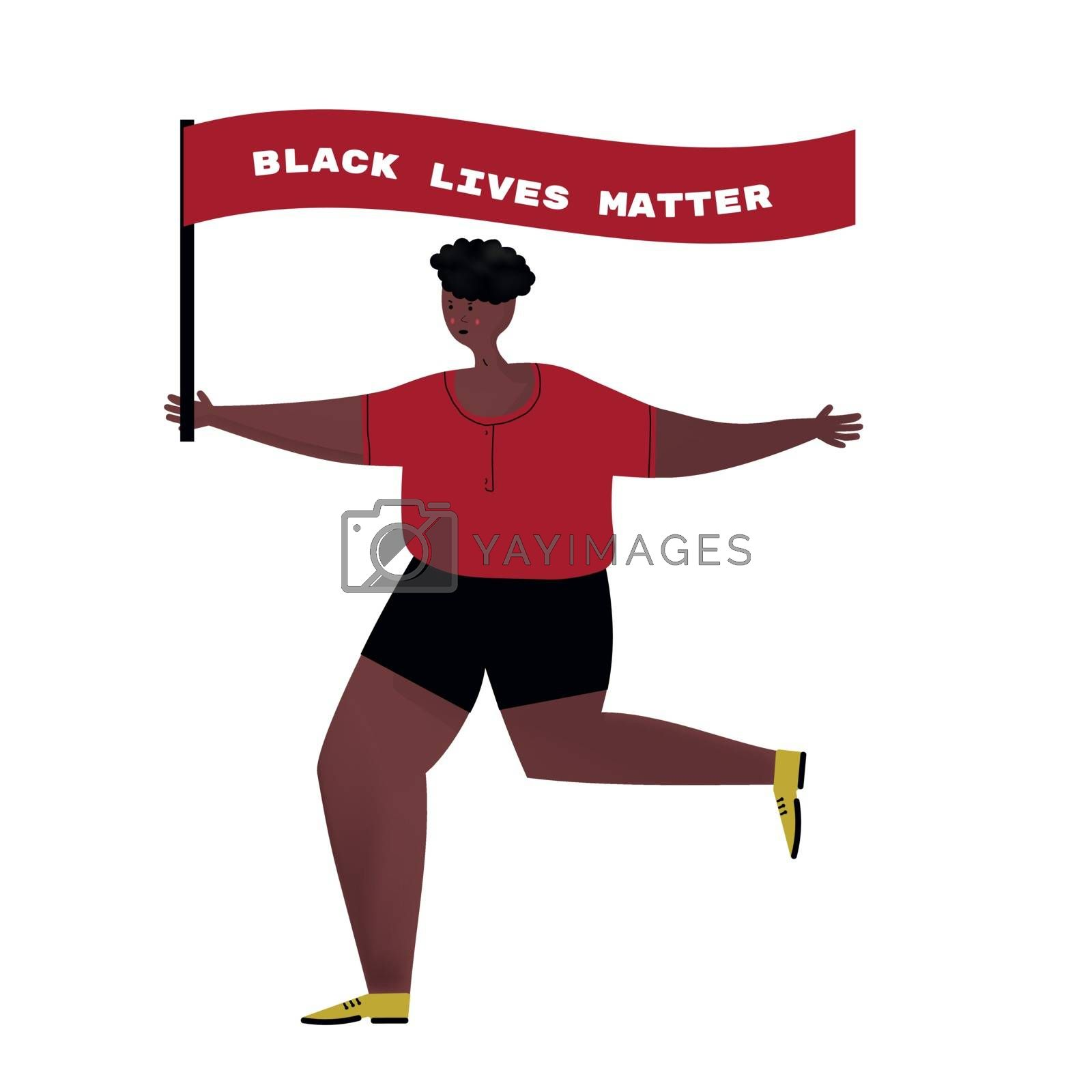 African American man with flag Black Lives Matter.Protest action guy.Cartoon character isolated on white background vector flat illustration. by zaryov
