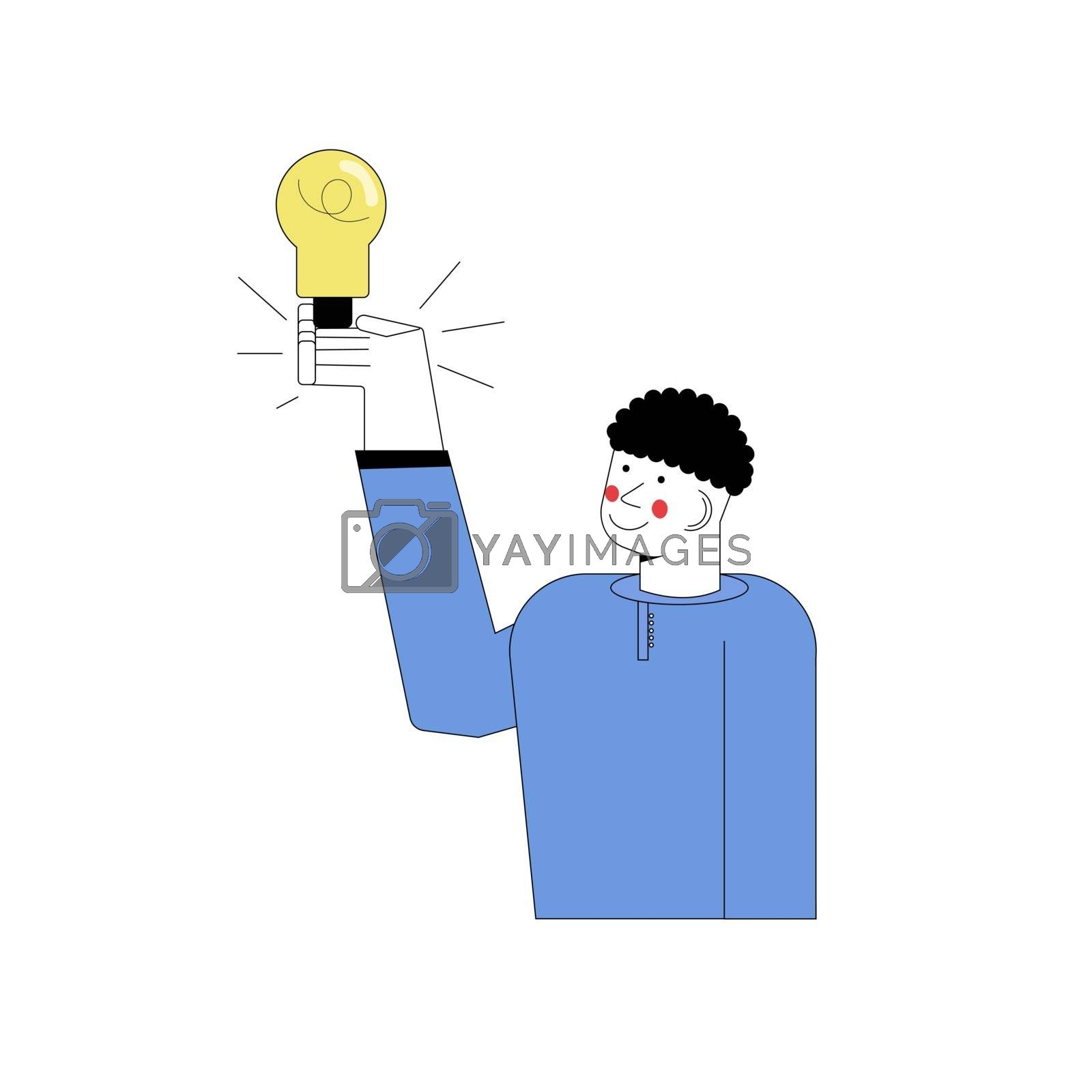 man stands and shows eureka gesture with a light bulb. The boy has an idea. Vector illustration in flat cartoon style. by zaryov
