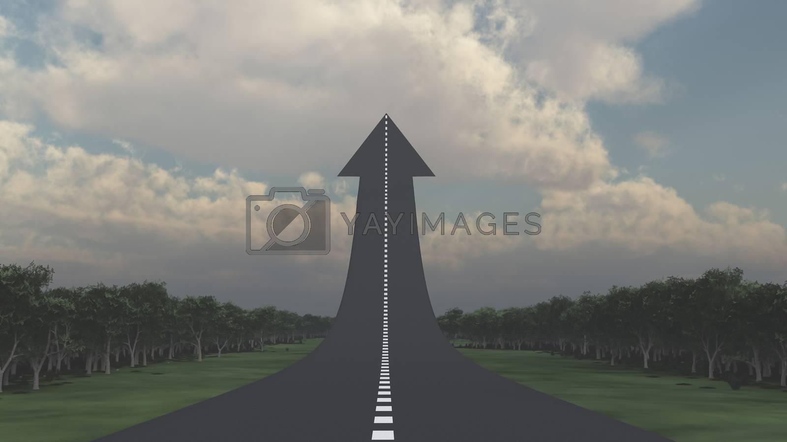 Road in arrow shape, leading up. 3D rendering