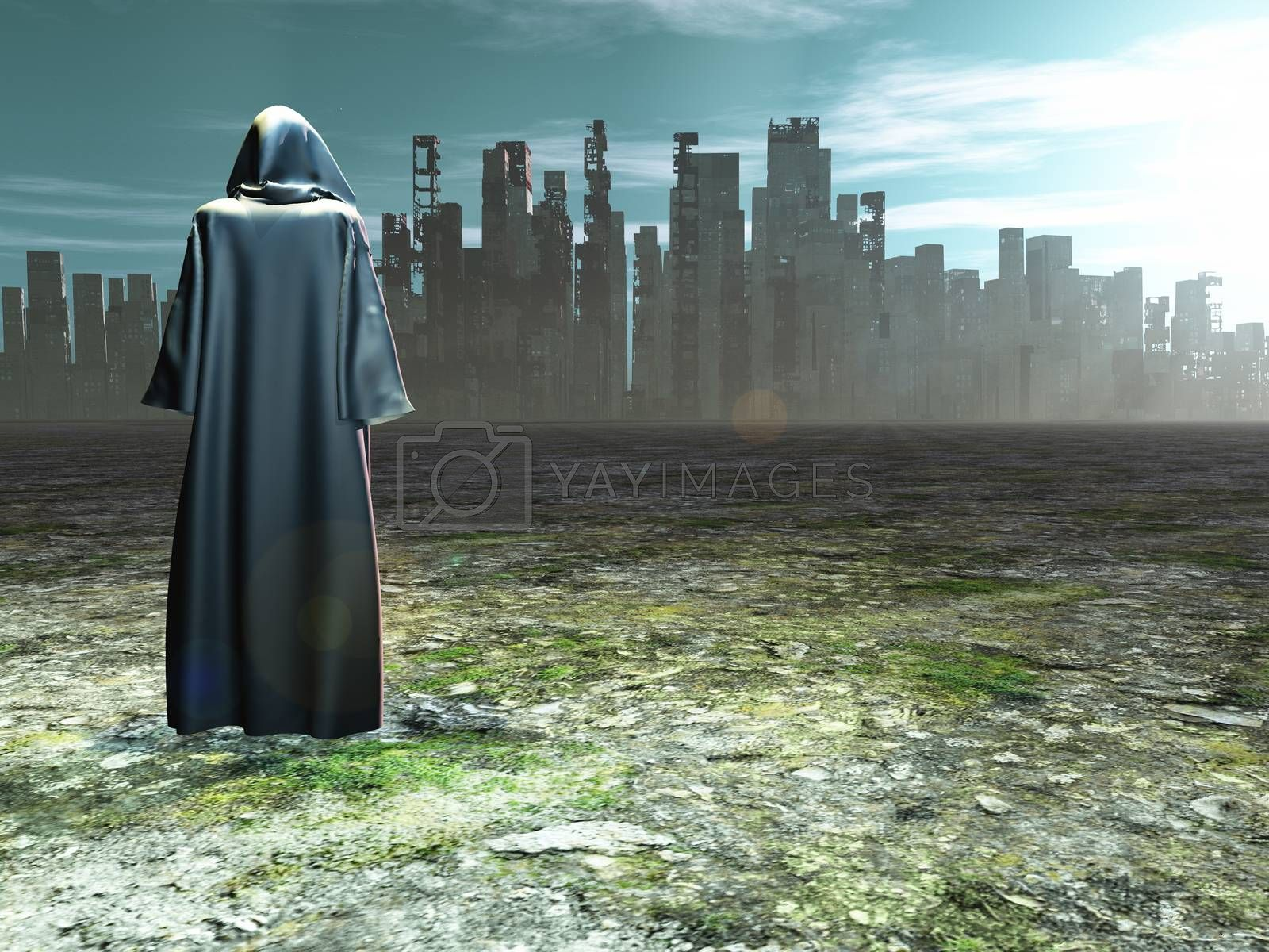 Traveler before the destroyed city. 3D rendering