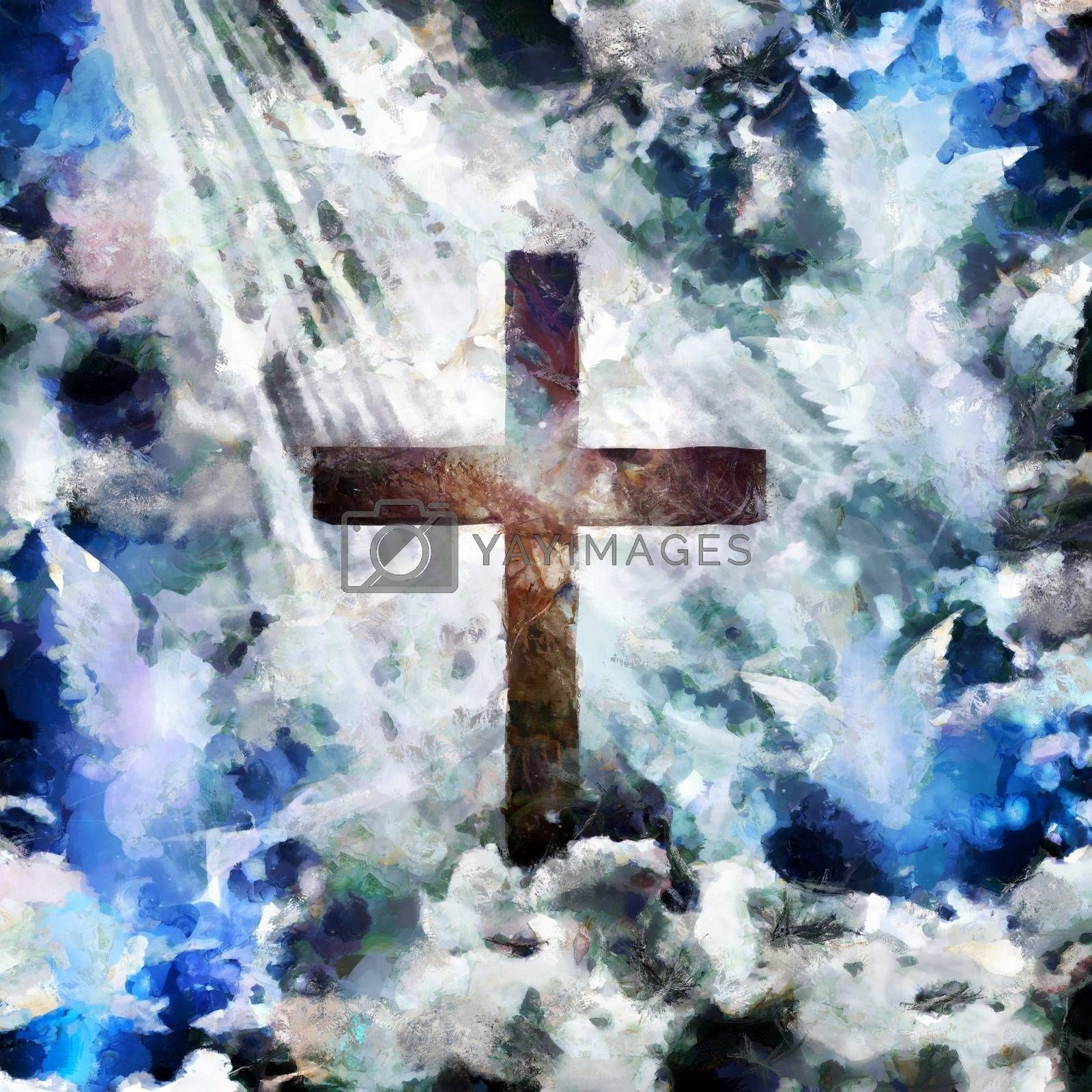 Spiritual painting. Christian cross and angels in the sky. 3D rendering
