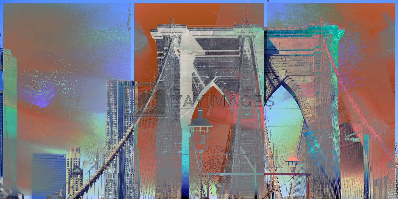 Modern art. Brooklyn bridge, view to downtown. 3D rendering