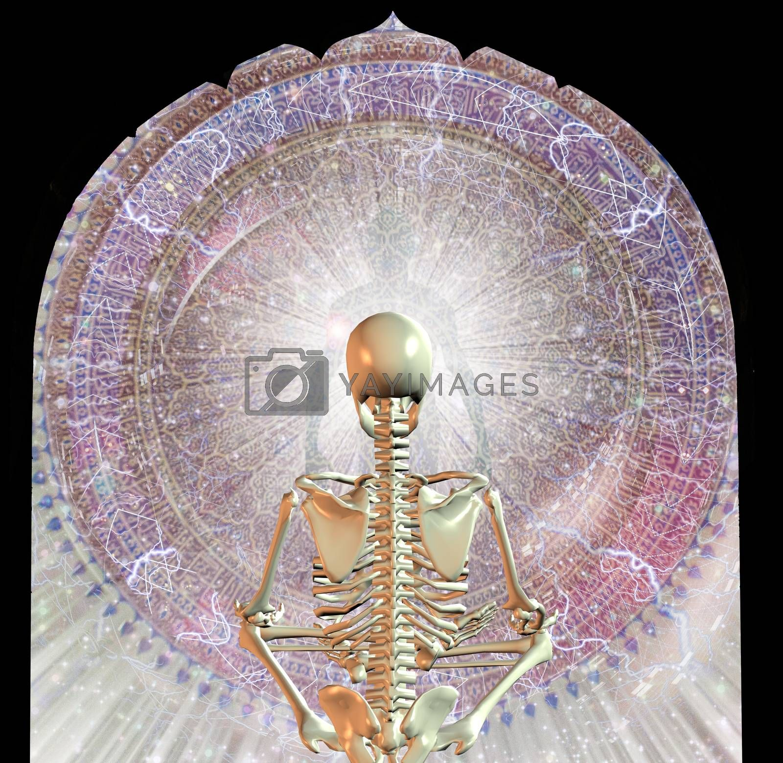 Skeleton sits in pose of lotus before man's aura in rays of light. 3D rendering