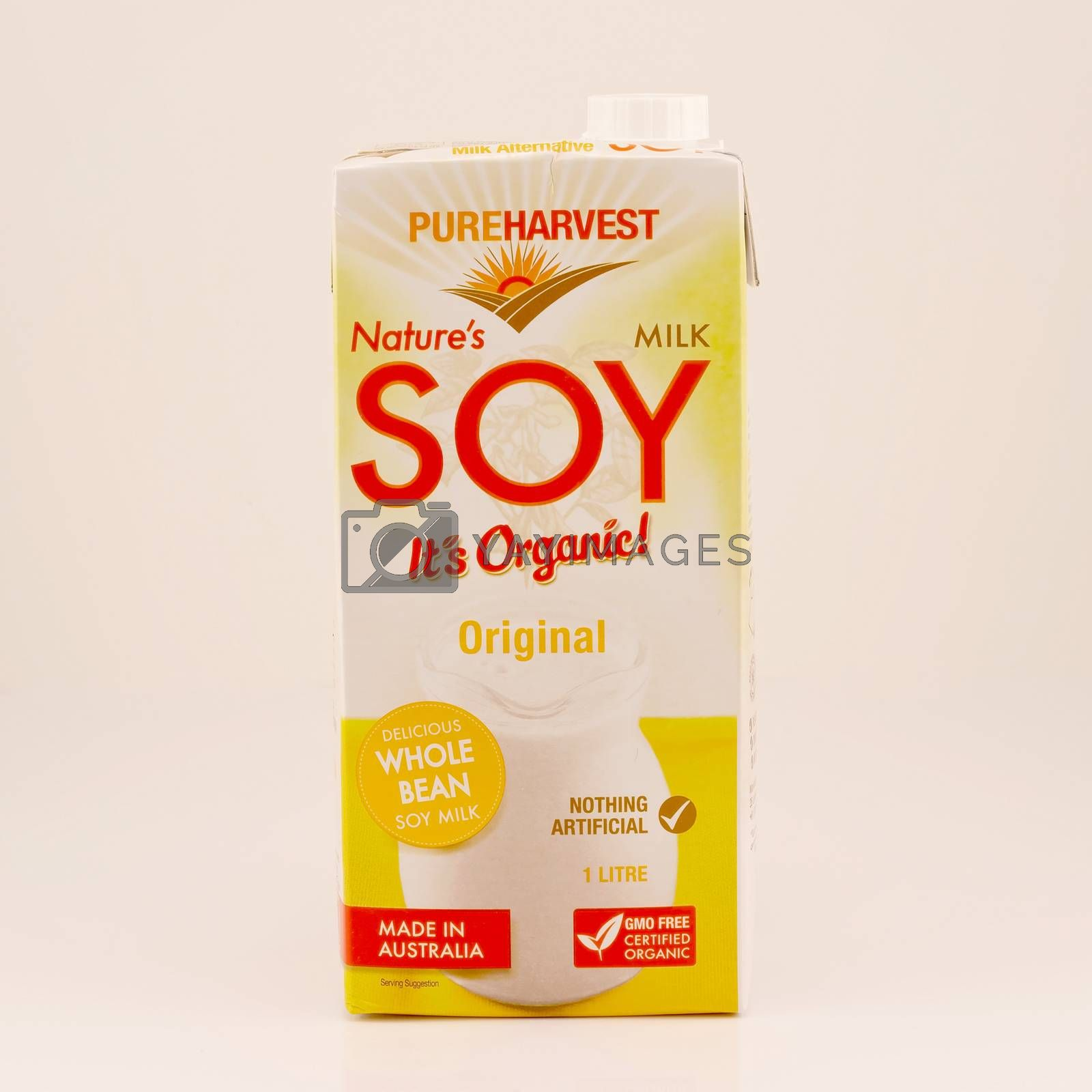Mackay, Queensland, Australia - February 2020: A carton of long life soy milk isolated on a white background, product photography