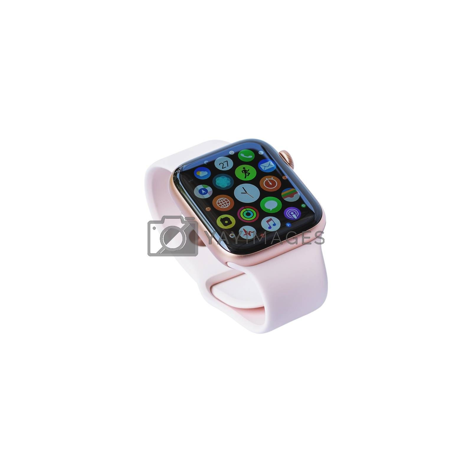 Beautiful design modern smart watch isolated on white background, with clipping path.