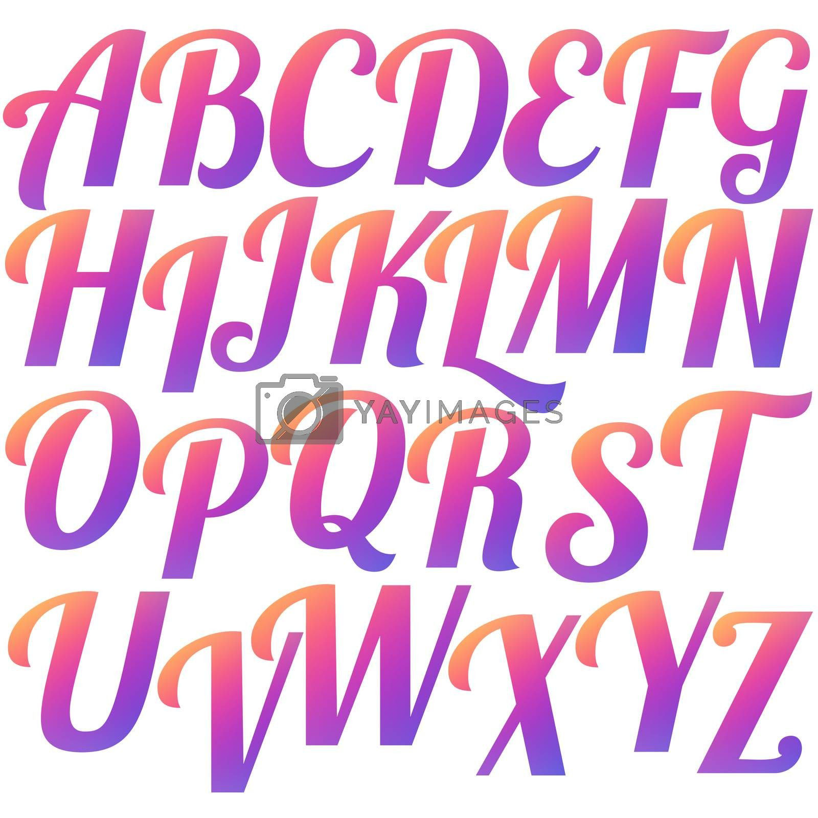 Set gradient capital letters in social media colors. Isolated alphabet symbols on white background. Stock illustration.