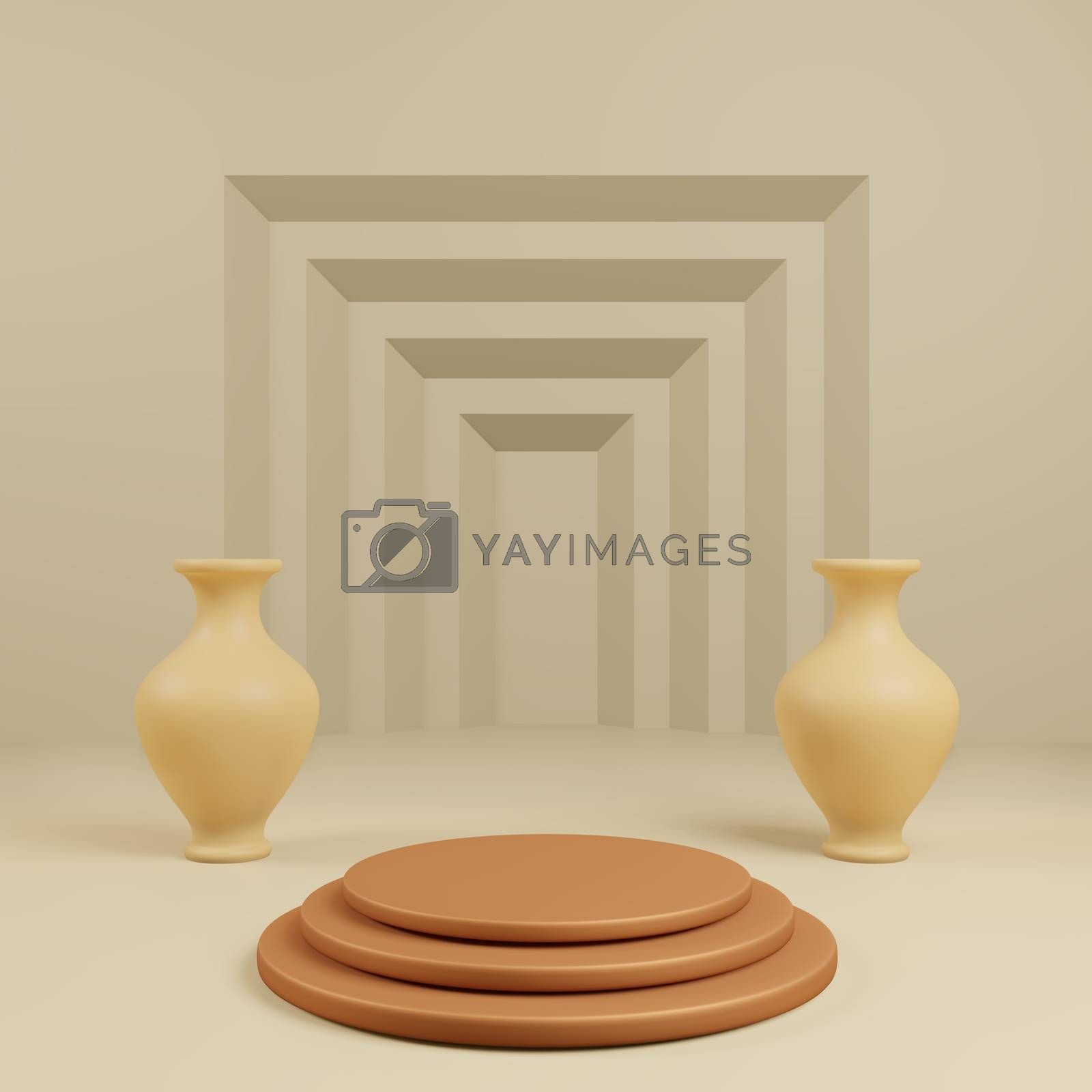 Royalty free image of Podium for show product with vase and step yellow background by eaglesky