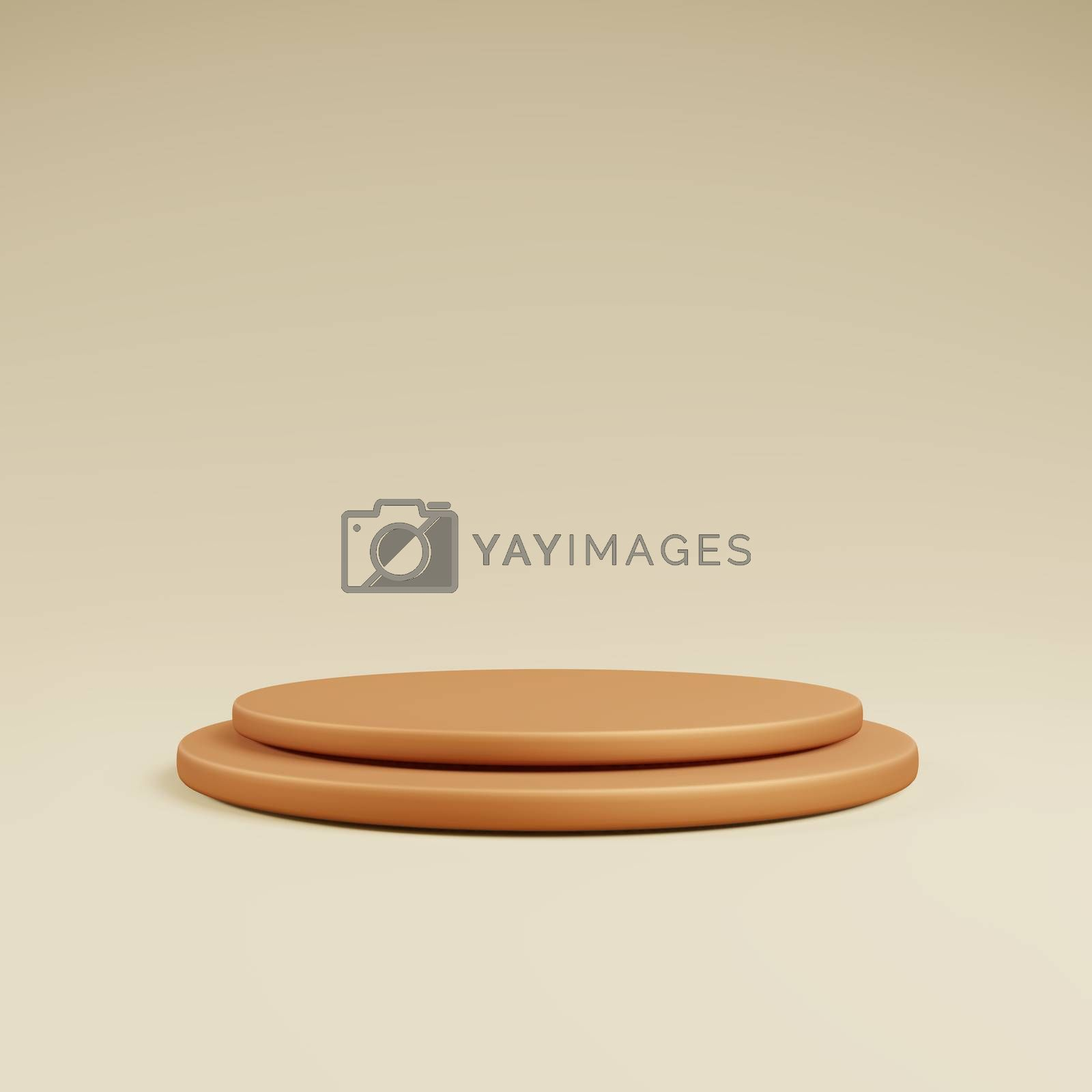 Royalty free image of Orange podium or stage for show product with yellow background by eaglesky