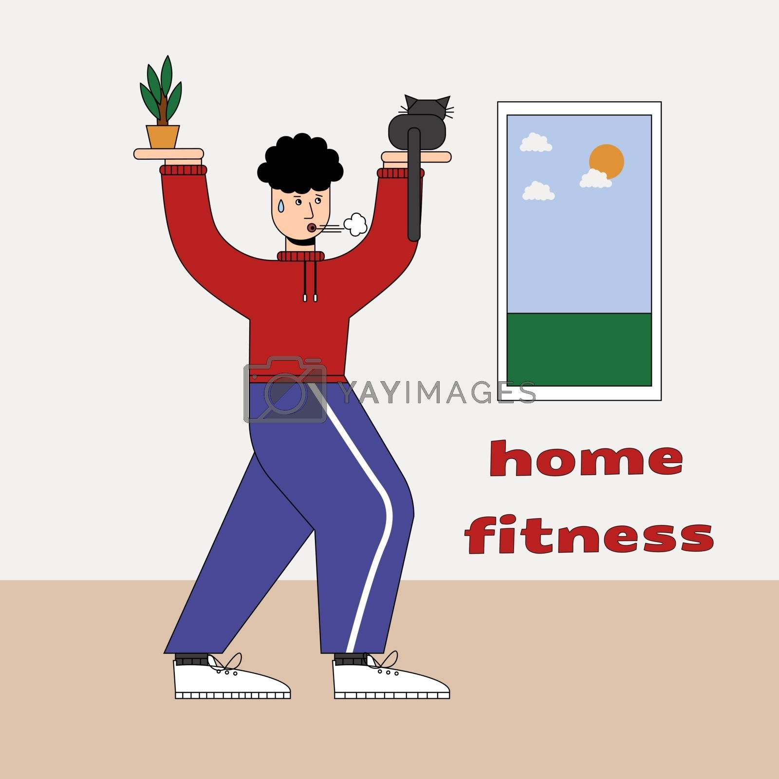 Man with cats doing gymnastics at home, humorous fitness motivational cartoon, character doing exercises indoors. Cauchois sits on the palm instead of a kettlebell