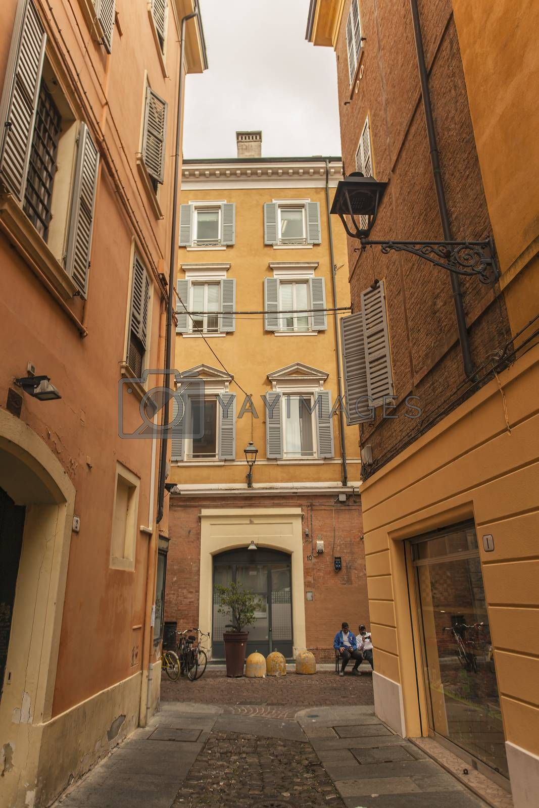 MODENA, ITALY 1 OCTOBER 2020: Modena's alley with historic buildings