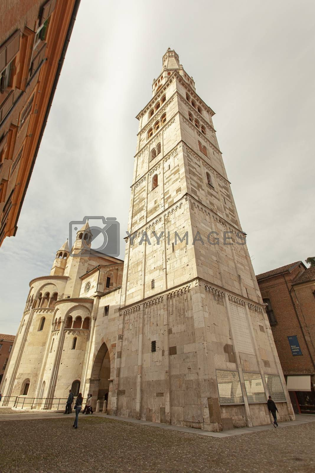 MODENA, ITALY 1 OCTOBER 2020: Ghirlandina tower detail in Modena