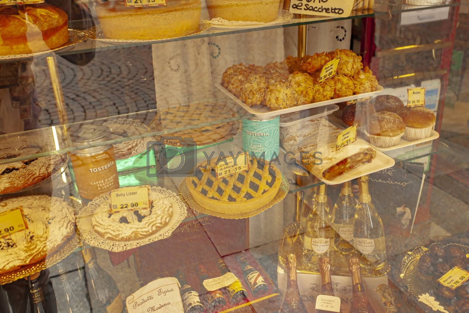 MODENA, ITALY 1 OCTOBER 2020: Showcase with cakes in Italy