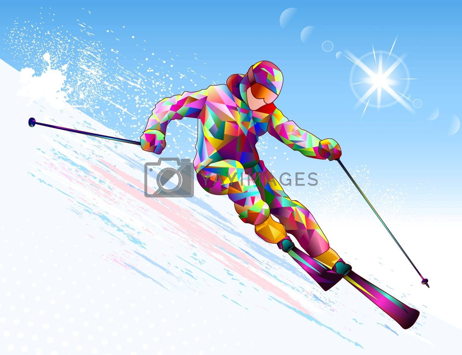 A male skier goes down on skis against the backdrop of the sky and the sun. Alpine skier on a snowy slope.