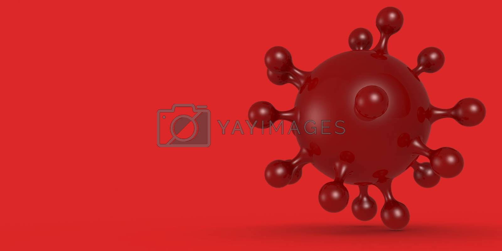 Corona virus cell in red color background, 3D rendering