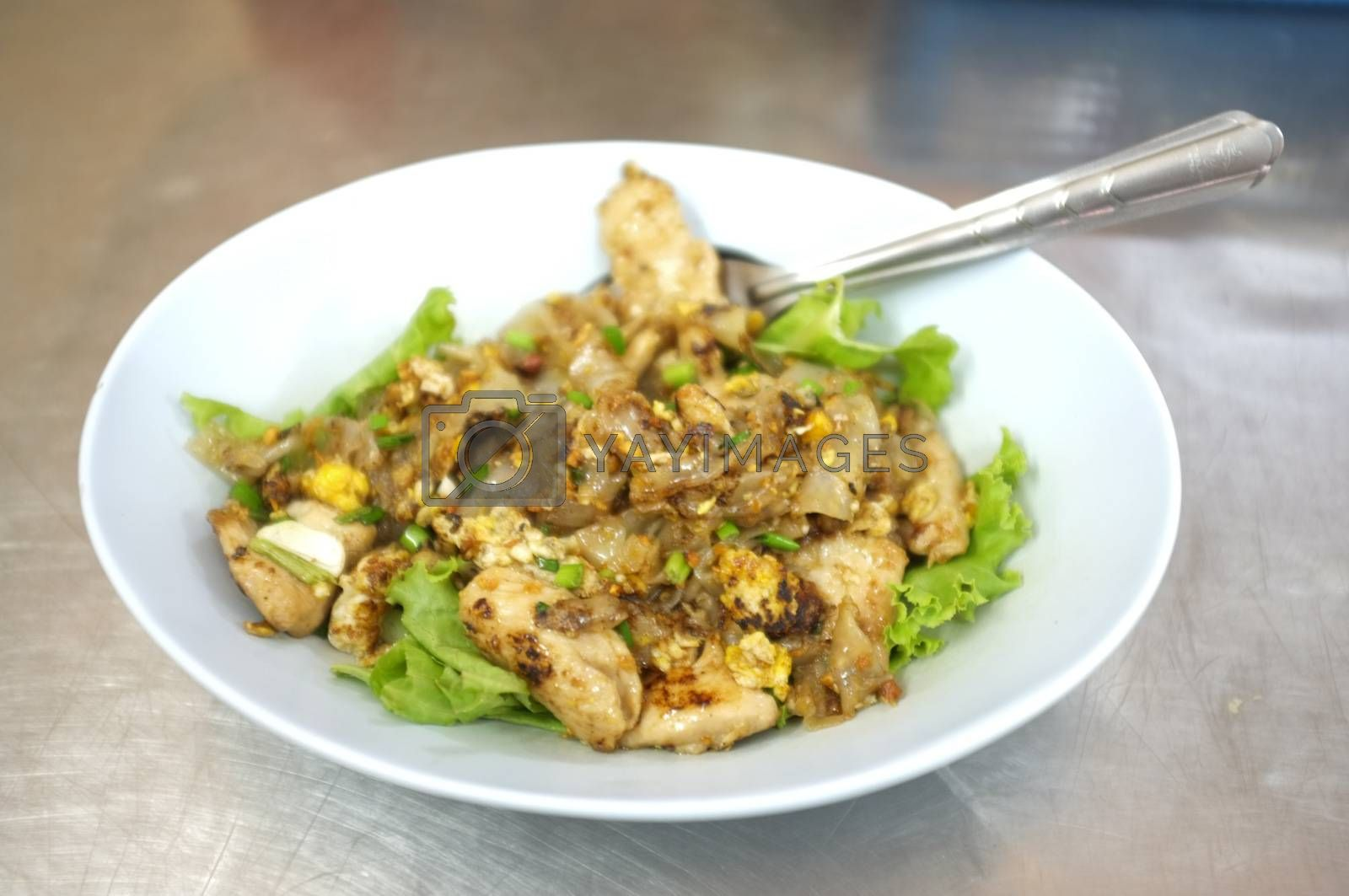Fried rice noodle with chicken , THAI food