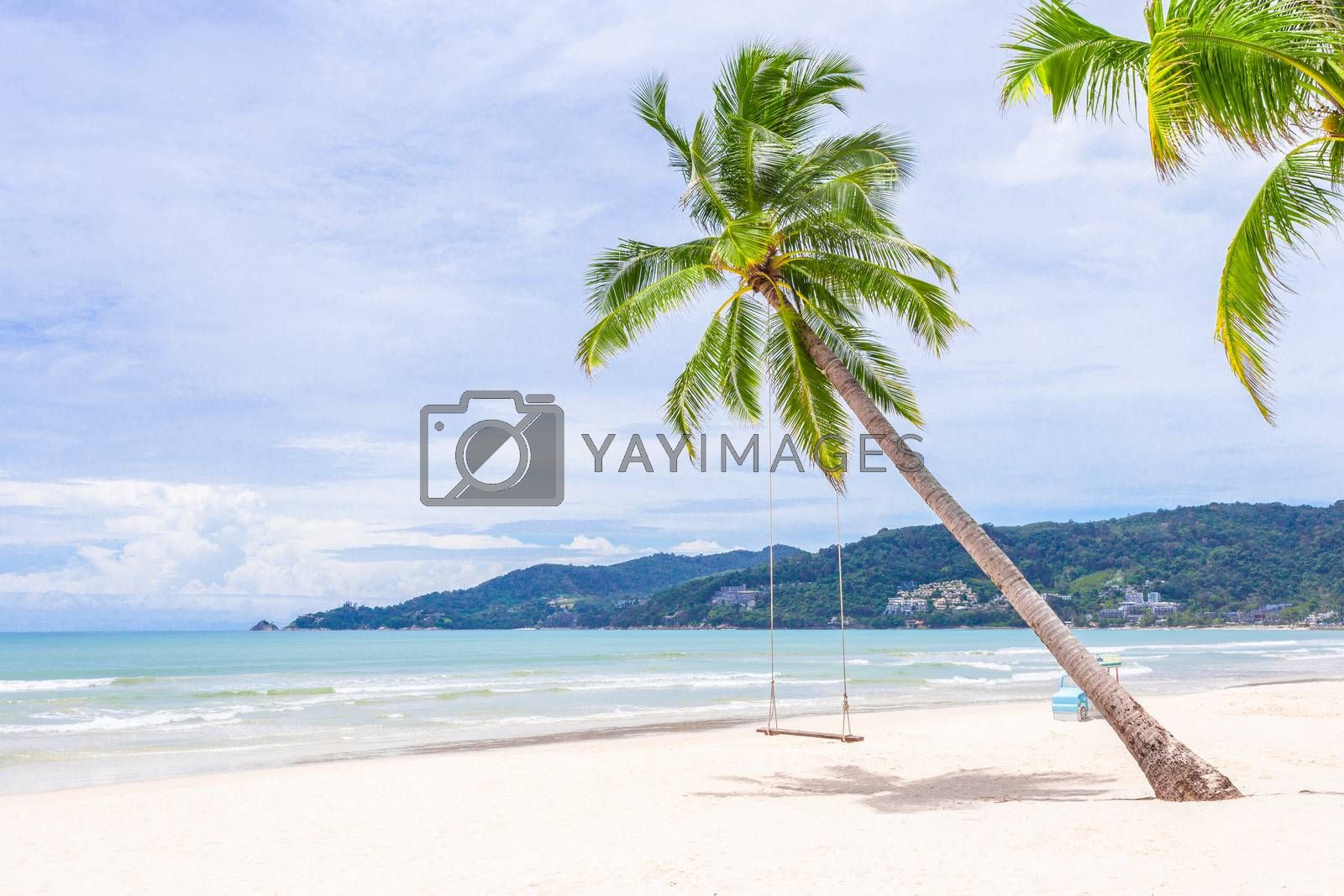Exotic Tropical Paradise Swings over Crystal Clear Turquoise Blue Ocean Sea Water Landscape Seascape