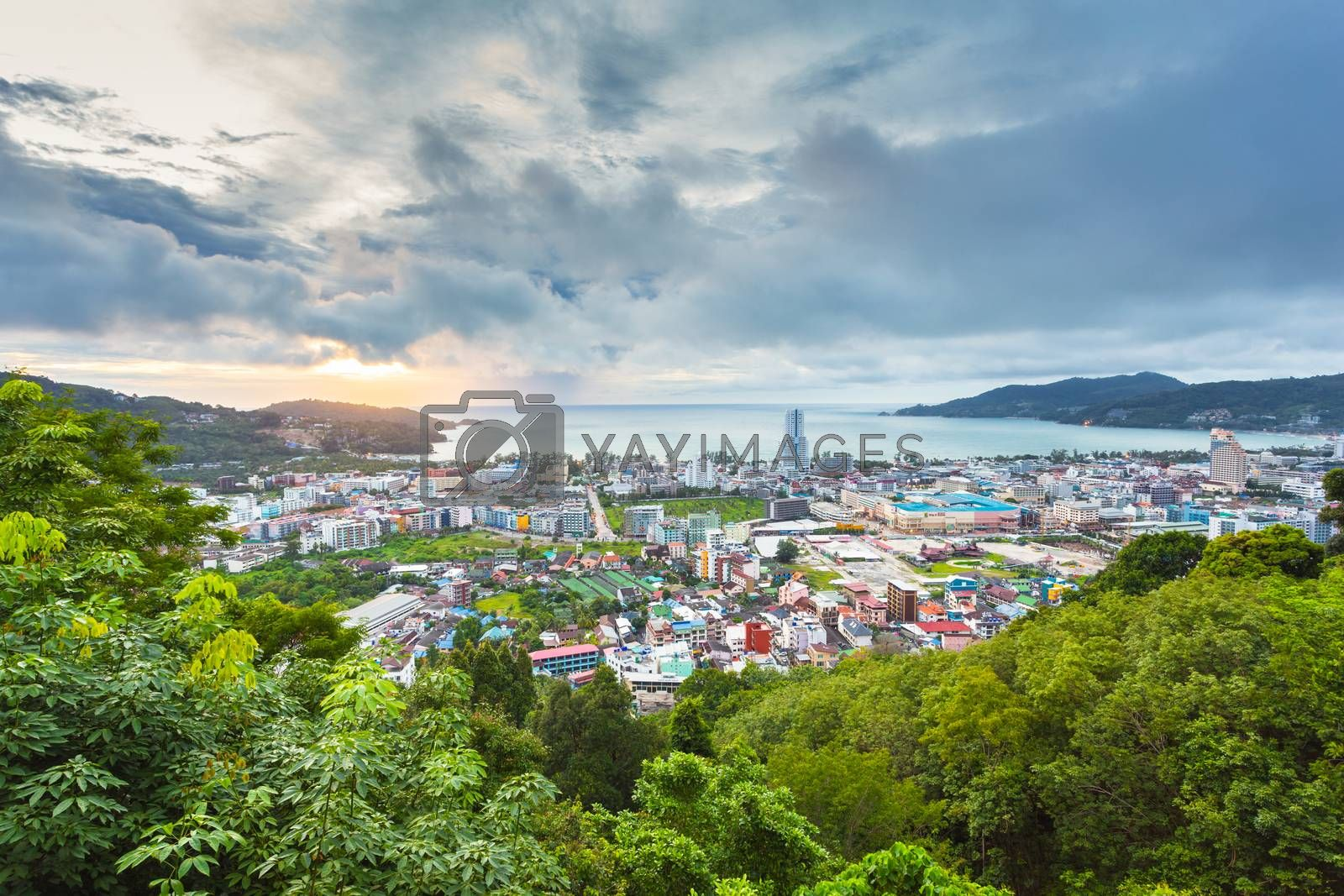 Landscape twilight city view with sunset in Phuket, Thailand.