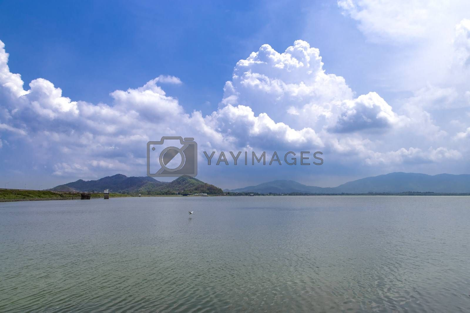 View of the lake and blue sky