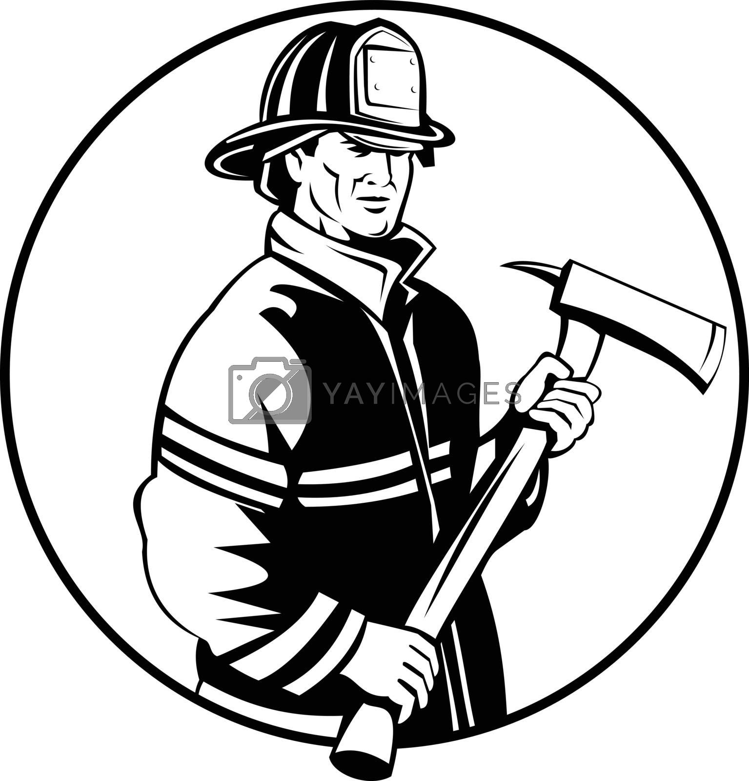 Mascot illustration of an American fireman or firefighter holding fire ax set inside circle viewed from front on isolated background in retro black and white style.