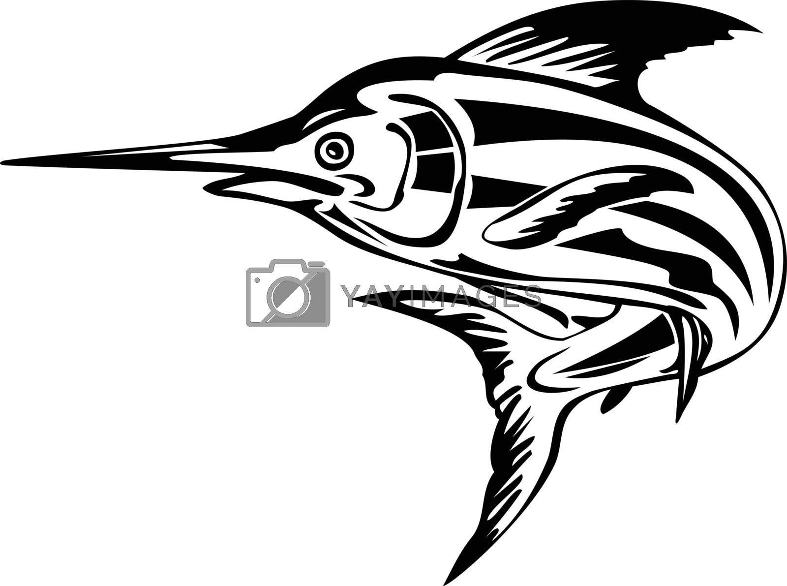 Retro style illustration of an Atlantic blue marlin, a species of marlin endemic to the Atlantic Ocean, swimming and jumping upward done in black and white on isolated background.