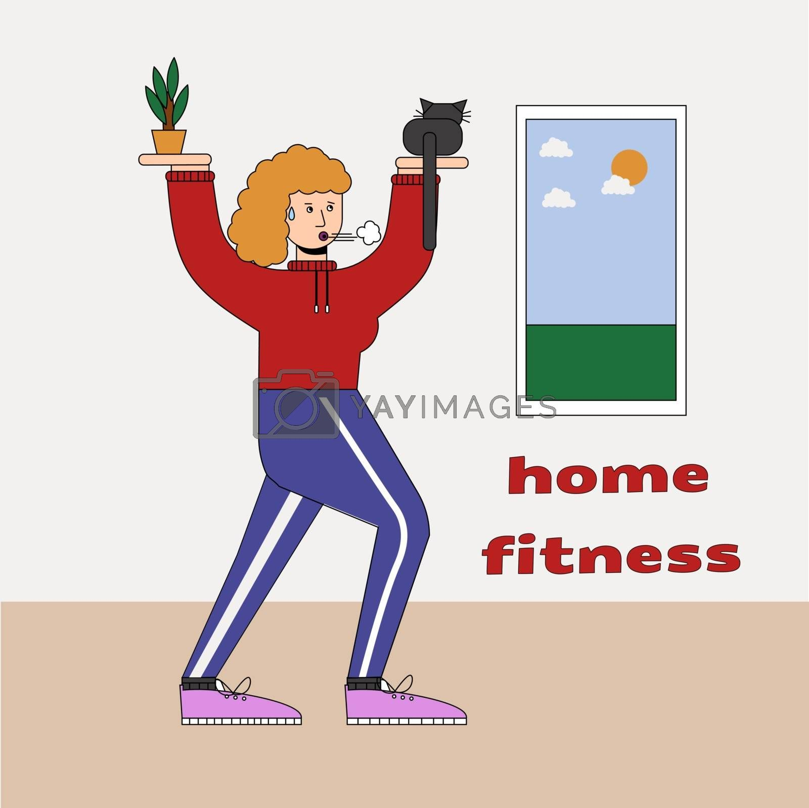 Woman with cats doing gymnastics at home, humorous fitness motivational cartoon, character doing exercises indoors. Cauchois sits on the palm instead of a kettlebell. by zaryov