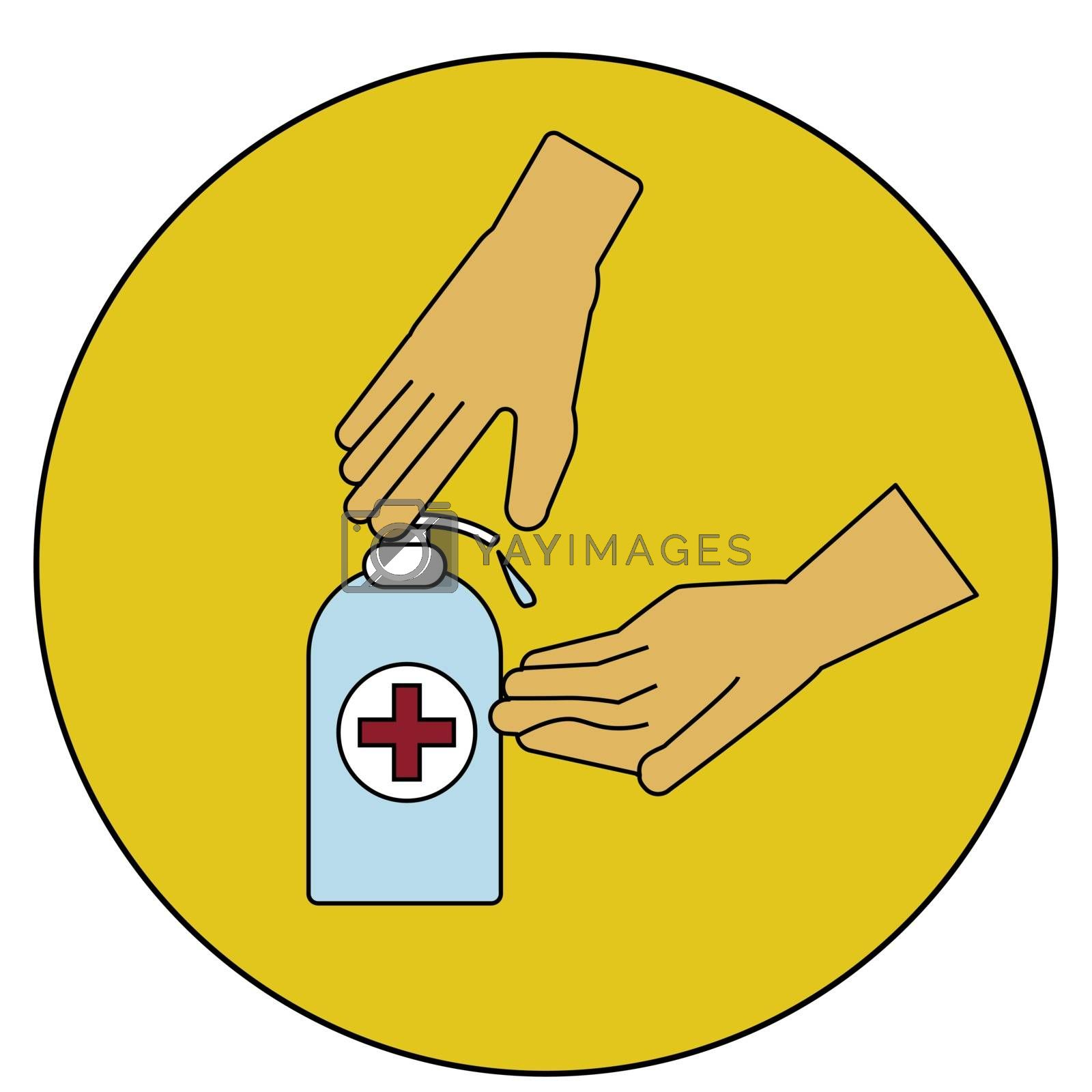washing hand with Antibacterial hand sanitizer, disinfection gel symbol in cartoon flat illustration vector isolated in white background by zaryov