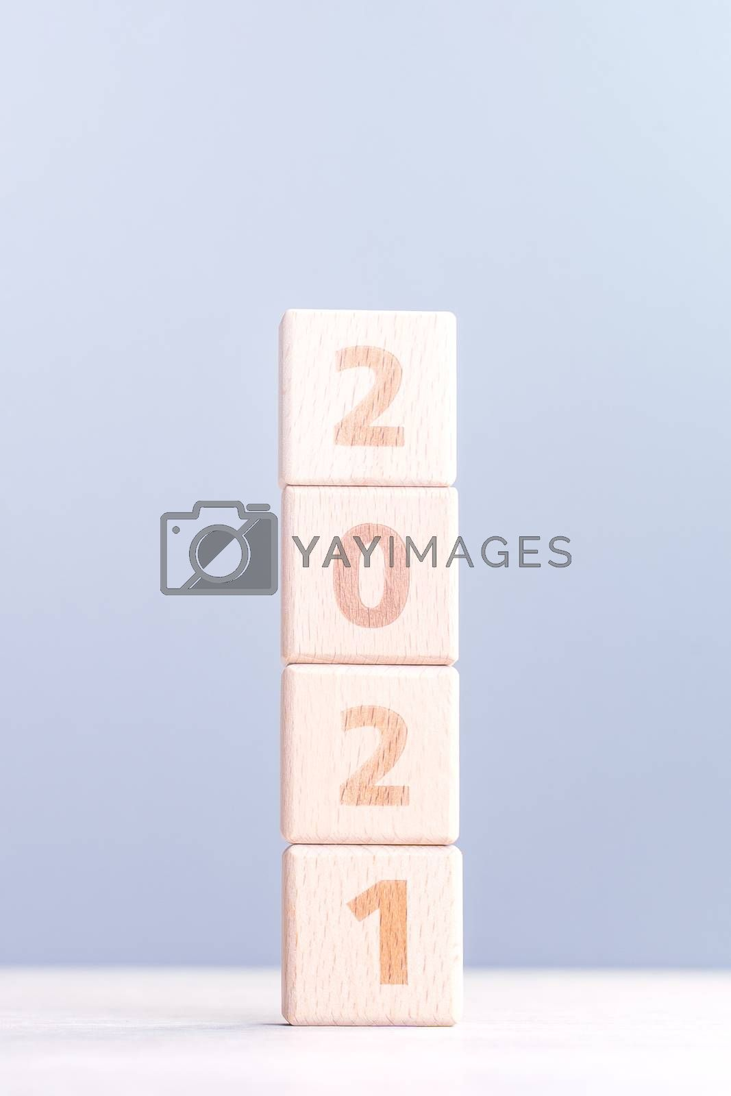 2021 New Year abstract design concept - Number wood block cubes  by ROMIXIMAGE