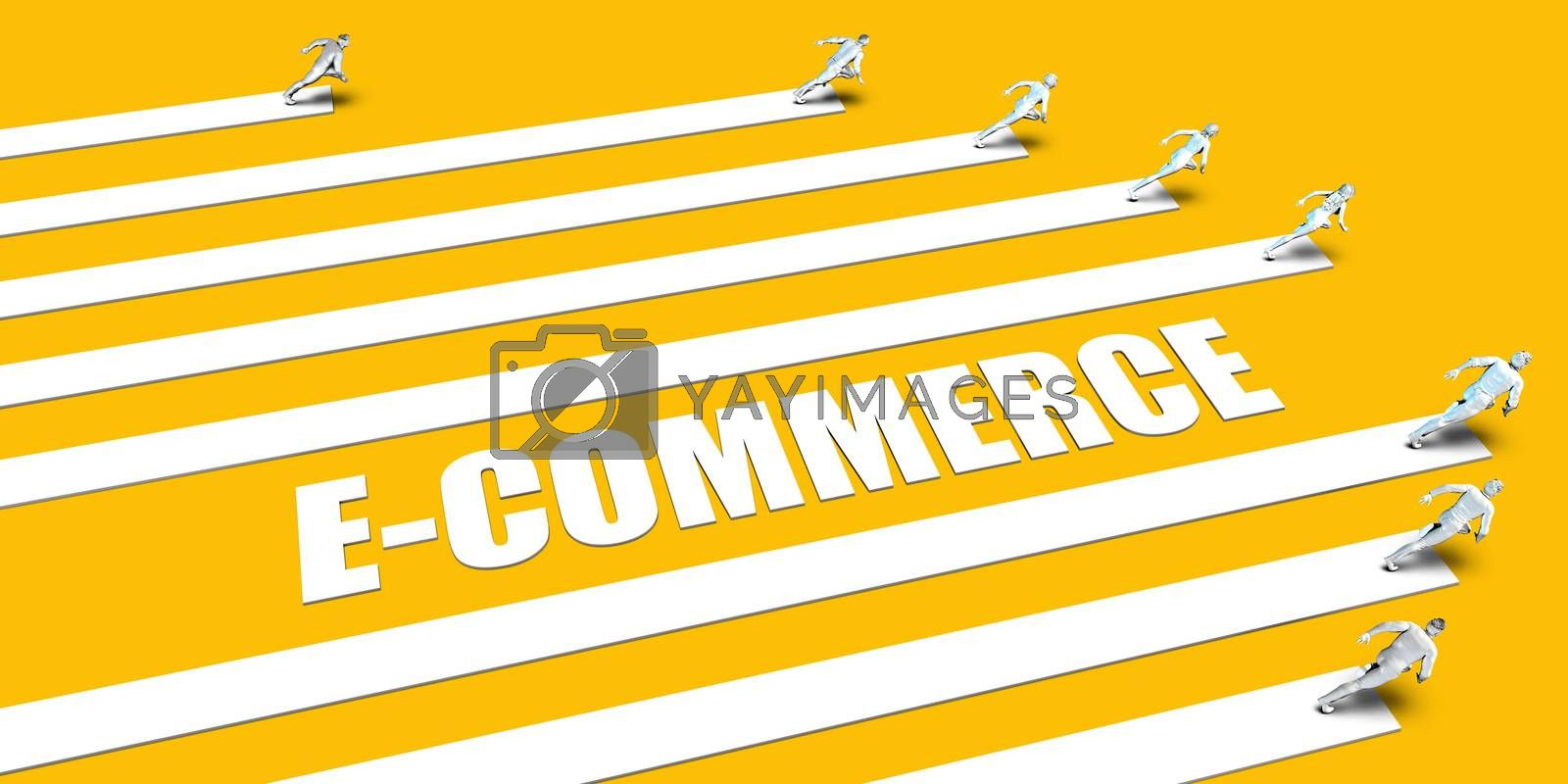 E-commerce Concept with Business People Running on Yellow