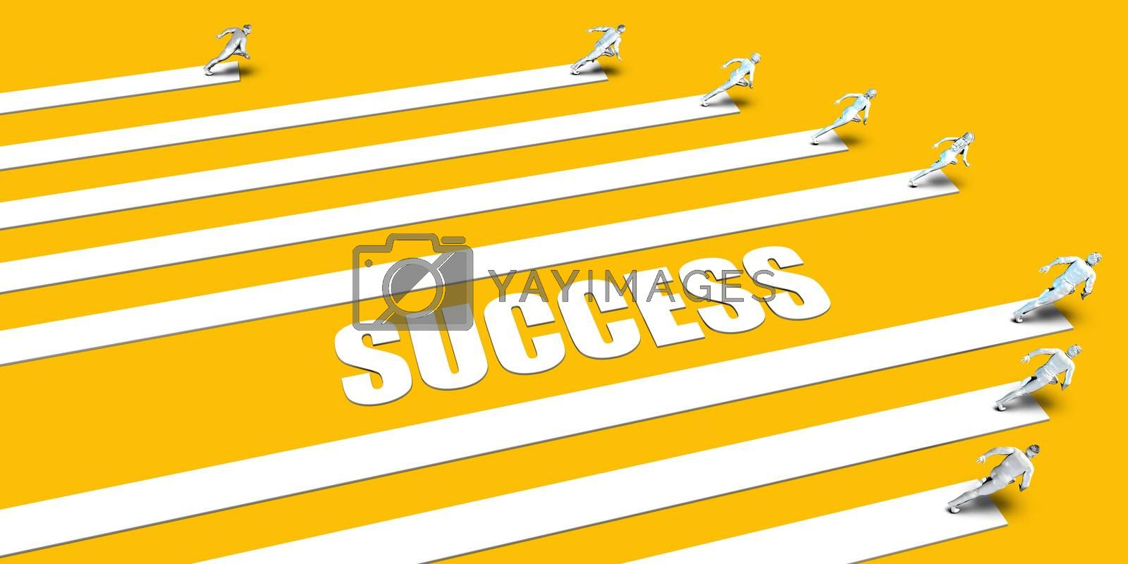 Success Concept with Business People Running on Yellow