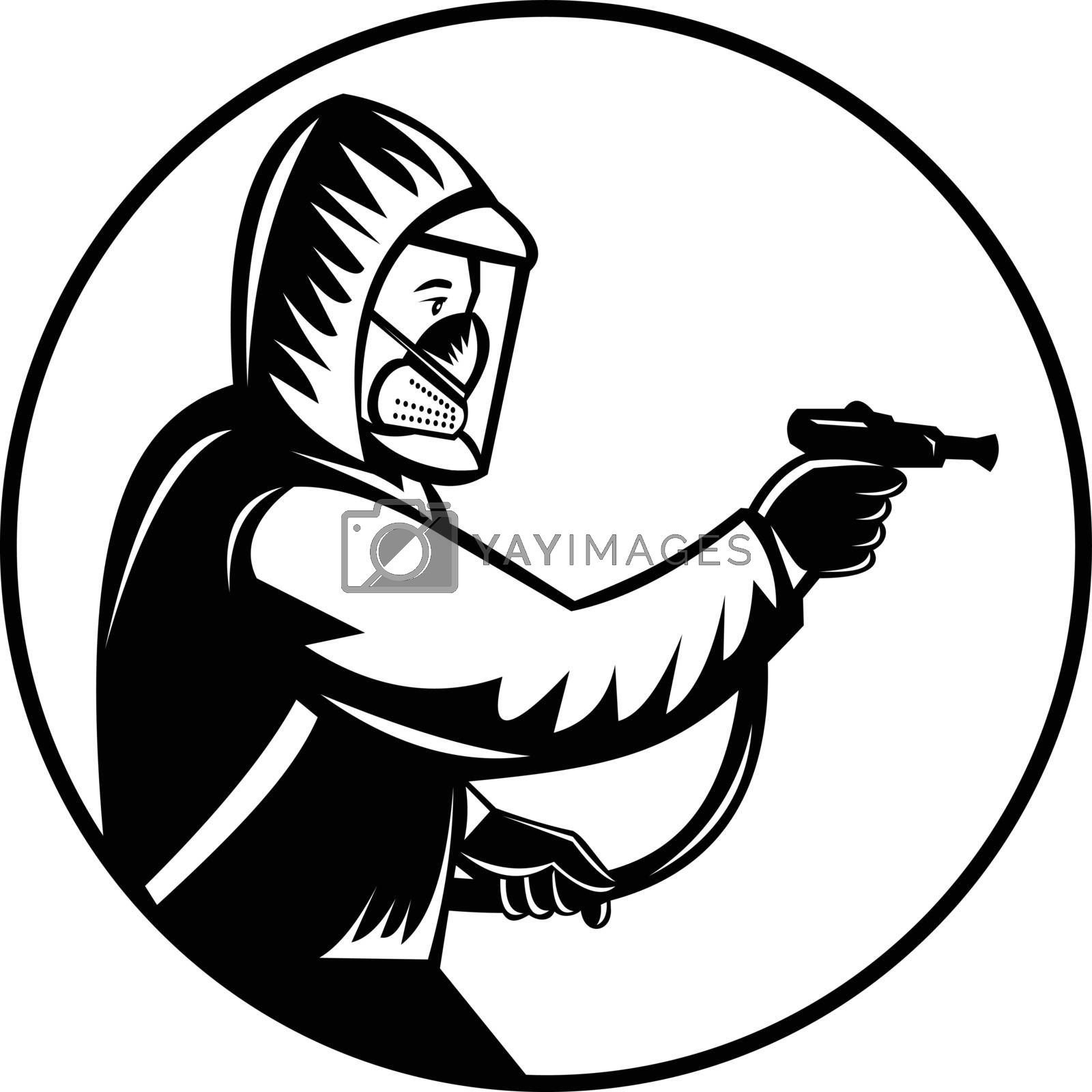 Retro woodcut style illustration of a pest control exterminator spraying pesticide or insecticide viewed from side set in circle on isolated background done in black and white.